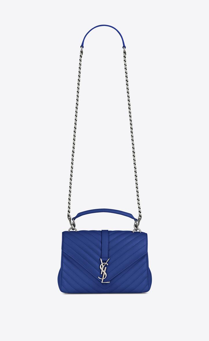 Saint Laurent Medium COLLEGE Bag In Royal Blue Matelassé Leather ... 1eece4376ea96