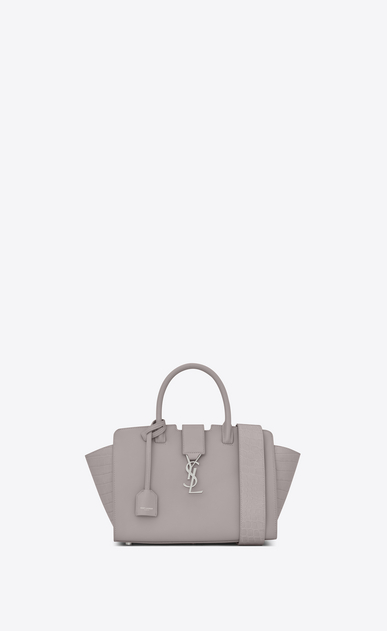 SAINT LAURENT MONOGRAMME TOTE D Baby DOWNTOWN YSL bag in oil tan leather and crocodile embossed leather in mouse gray a_V4