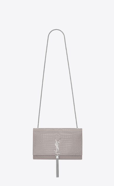 SAINT LAURENT MONOGRAM KATE WITH TASSEL Woman Medium KATE tassel chain bag in mouse-gray crocodile embossed shiny leather a_V4