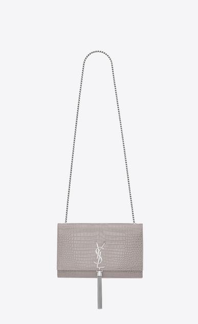 SAINT LAURENT MONOGRAM KATE WITH TASSEL D Medium KATE Tassel Satchel grigio in coccodrillo stampato lucido v4