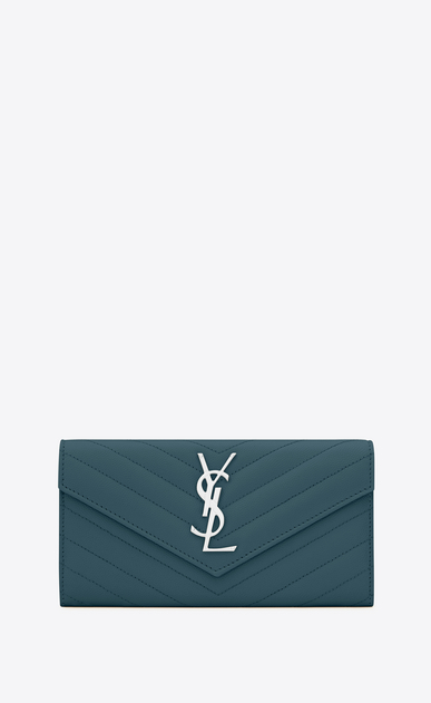 SAINT LAURENT Monogram Matelassé D Large MONOGRAM wallet with flap in green grain de poudre textured matelassé leather a_V4