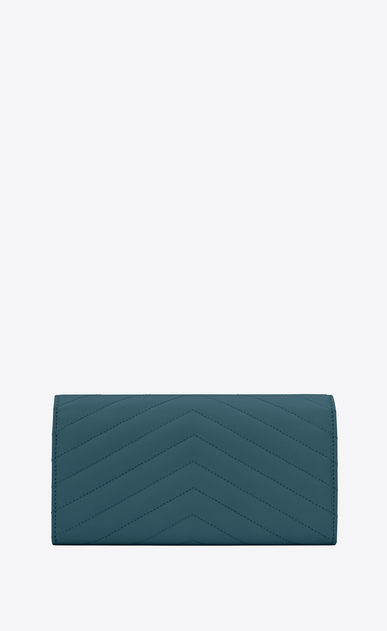 SAINT LAURENT Monogram Matelassé D Large MONOGRAM wallet with flap in green grain de poudre textured matelassé leather b_V4