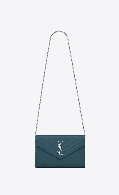SAINT LAURENT Matelassé chain wallet D MONOGRAM chain wallet in green grain de poudre textured matelassé leather a_V4