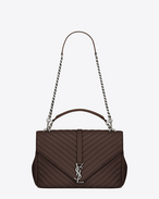 SAINT LAURENT Monogram College D Grand Sac COLLEGE en cuir matelassé noisette f