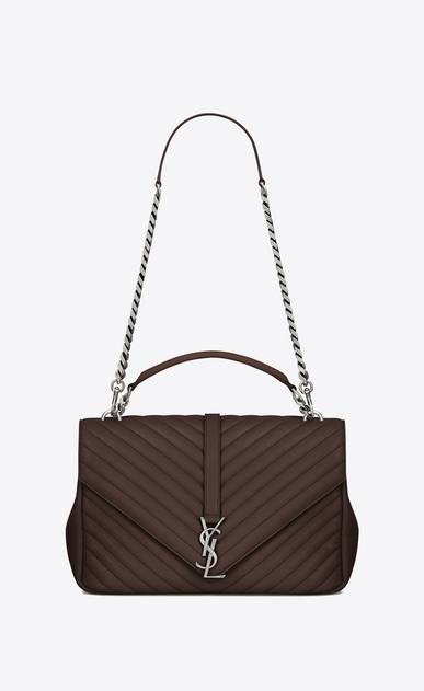 SAINT LAURENT Monogram College D Large COLLEGE bag in hazelnut matelassé leather a_V4