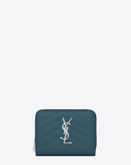 SAINT LAURENT Monogram Matelassé D Compact MONOGRAM zipped wallet in green textured leather f