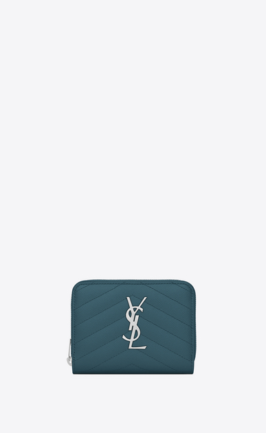 SAINT LAURENT Monogram Matelassé D Compact MONOGRAM zipped wallet in green textured leather a_V4