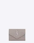 SAINT LAURENT Monogram D Small MONOGRAM envelope wallet in mouse-gray crocodile embossed shiny leather f