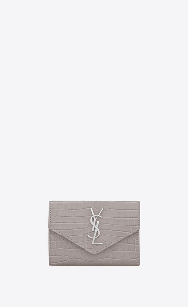 SAINT LAURENT Monogram Woman Small MONOGRAM envelope wallet in mouse-gray crocodile embossed shiny leather a_V4
