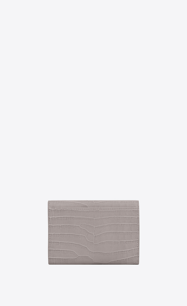 SAINT LAURENT Monogram D Small MONOGRAM envelope wallet in mouse-gray crocodile embossed shiny leather b_V4