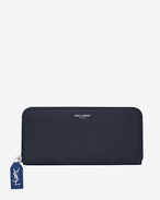 SAINT LAURENT Rive gauche SLG D Large RIVE GAUCHE zipped wallet in dark and royal blue grained leather f