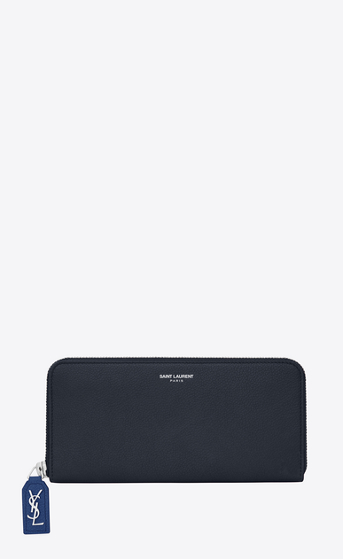 SAINT LAURENT Rive gauche SLG D Large RIVE GAUCHE zipped wallet in dark and royal blue grained leather a_V4