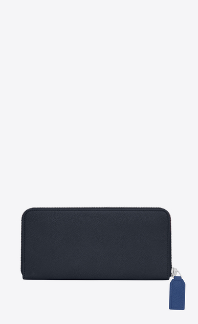 SAINT LAURENT Rive gauche SLG D Large RIVE GAUCHE zipped wallet in dark and royal blue grained leather b_V4