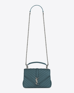 SAINT LAURENT Monogram College D Medium COLLEGE bag in green matelassé leather f