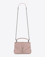 SAINT LAURENT Monogram College D Medium COLLEGE bag in powder pink matelassé leather f