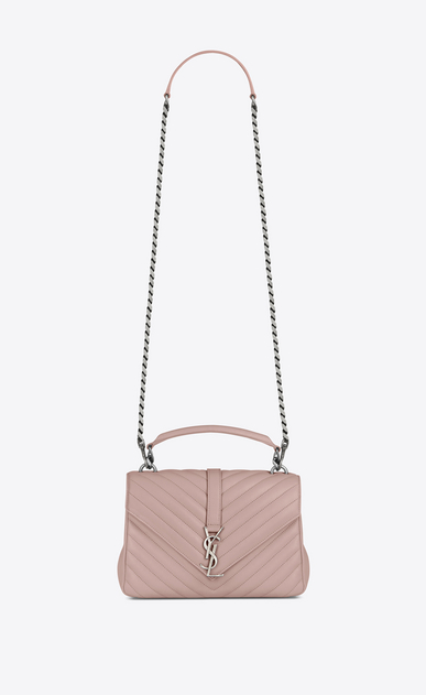 SAINT LAURENT Monogram College D Medium COLLEGE bag in powder pink matelassé leather a_V4