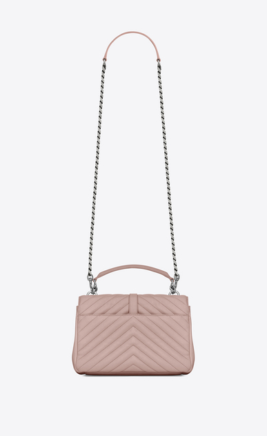 SAINT LAURENT Monogram College D Medium COLLEGE bag in powder pink matelassé leather b_V4