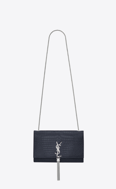 SAINT LAURENT MONOGRAM KATE WITH TASSEL D Satchel medium à pompon KATE en cuir brillant embossé façon crocodile bleu foncé a_V4