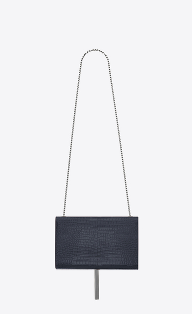 SAINT LAURENT MONOGRAM KATE WITH TASSEL Woman chain bag medium à pompon KATE en cuir brillant embossé façon crocodile bleu foncé b_V4