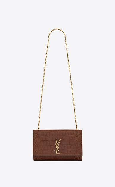 SAINT LAURENT MONOGRAM KATE D Medium KATE chain bag in cognac crocodile embossed matte leather a_V4