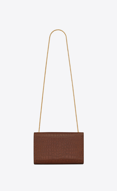 SAINT LAURENT MONOGRAM KATE D Medium KATE chain bag in cognac crocodile embossed matte leather b_V4