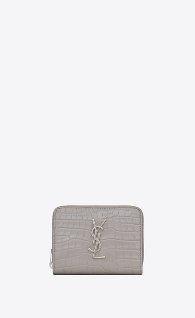 SAINT LAURENT Monogram D Compact MONOGRAM zipped wallet in mouse-gray crocodile embossed shiny leather a_V4