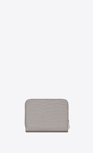 SAINT LAURENT Monogram D Compact MONOGRAM zipped wallet in mouse-gray crocodile embossed shiny leather b_V4