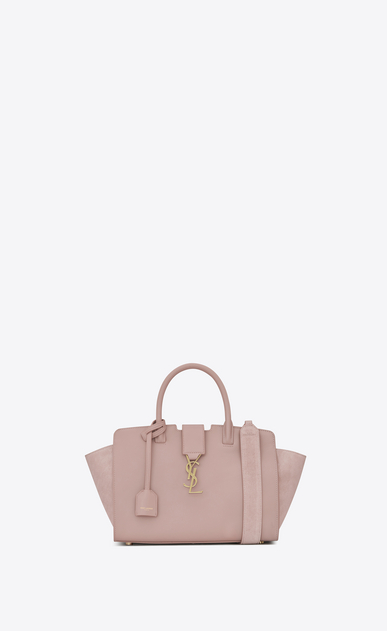 SAINT LAURENT MONOGRAMME TOTE Woman Baby DOWNTOWN leather and suede cabas bag in powder pink a_V4