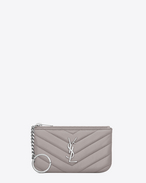 SAINT LAURENT Monogram Matelassé D MONOGRAM key pouch in mouse-gray matelassé leather f