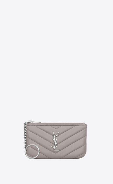 SAINT LAURENT Monogram Matelassé D MONOGRAM key pouch in mouse-gray matelassé leather a_V4