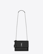 SAINT LAURENT Sunset D Medium SUNSET bag in black patent leather f