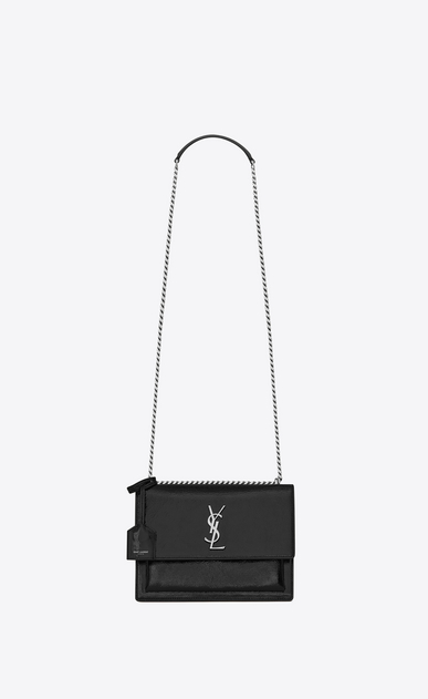 SAINT LAURENT Sunset D Medium SUNSET bag in black patent leather a_V4