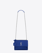 SAINT LAURENT Sunset D Sac Medium SUNSET en cuir bleu roi f