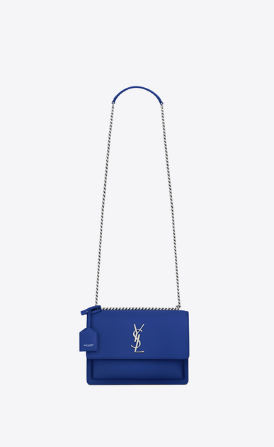 SAINT LAURENT Sunset D Medium SUNSET bag in royal blue leather a_V4