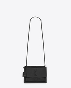 SAINT LAURENT Sunset D Sac Medium SUNSET en cuir brillant embossé façon crocodile noir f