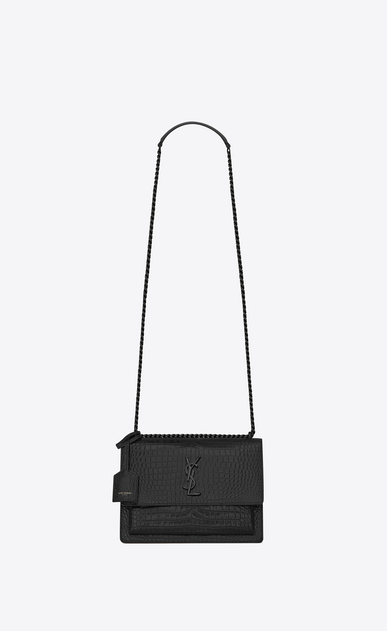 SAINT LAURENT Sunset Femme Sac Medium SUNSET en cuir brillant embossé façon crocodile noir a_V4