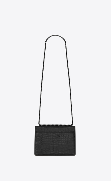 SAINT LAURENT Sunset Femme Sac Medium SUNSET en cuir brillant embossé façon crocodile noir b_V4