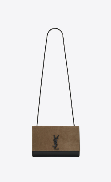 SAINT LAURENT MONOGRAM KATE Woman Medium KATE chain bag in black leather and taupe suede a_V4