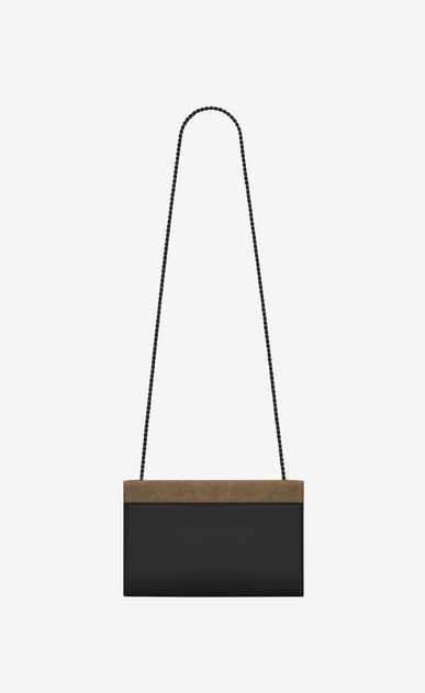 SAINT LAURENT MONOGRAM KATE Woman Medium KATE chain bag in black leather and taupe suede b_V4