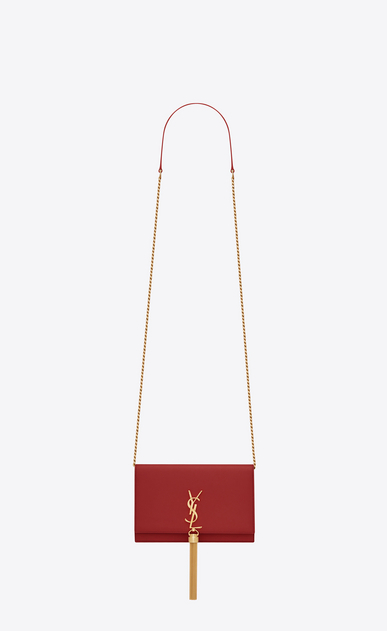SAINT LAURENT MONOGRAM KATE WITH TASSEL D Portefeuille à chaîne et pompon KATE en cuir lisse rouge a_V4