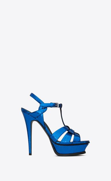 SAINT LAURENT Tribute D TRIBUTE 105 Sandale aus metallic-blauem Leder mit Craquelé-Optik v4