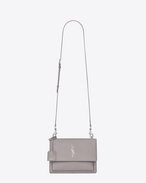 SAINT LAURENT Sunset D Satchel Medium SUNSET en cuir grainé gris souris f