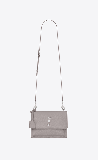 SAINT LAURENT Sunset D Medium SUNSET satchel in mouse-gray grained leather a_V4