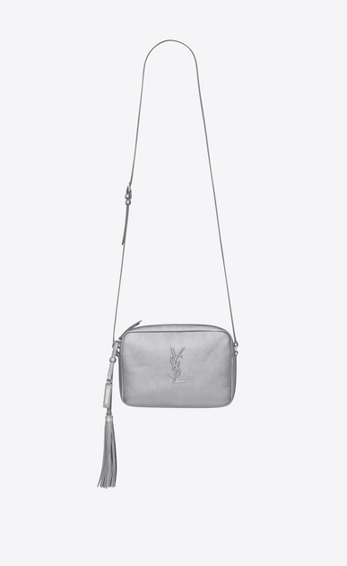 SAINT LAURENT Camera bag Woman LOU camera bag in platinum lamé leather a_V4