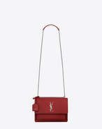 SAINT LAURENT Sunset D Sac Medium SUNSET en cuir rouge lipstick f
