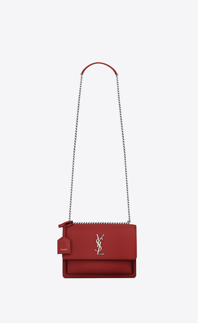 SAINT LAURENT Sunset Damen Mittlere SUNSET Tasche aus lippenstiftrotem Leder a_V4