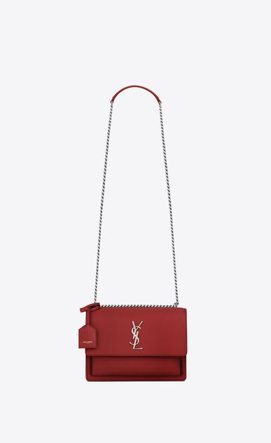SAINT LAURENT Sunset D Medium SUNSET bag in lipstick red leather v4