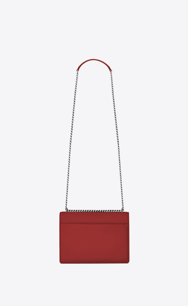 SAINT LAURENT Sunset Femme Sac Medium SUNSET en cuir rouge lipstick b_V4