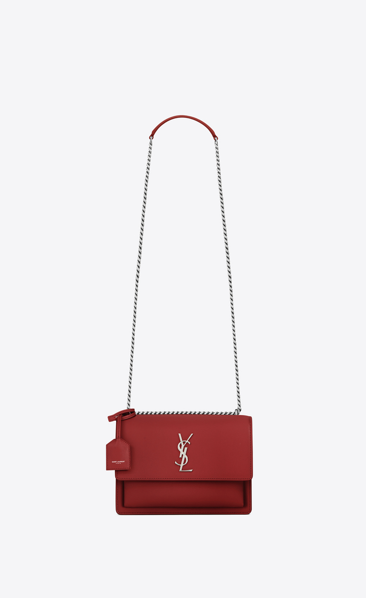 Saint Laurent Medium Sunset Bag In Lipstick Red Leather