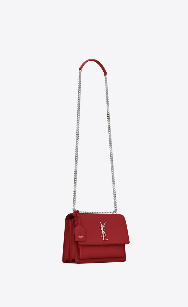 Saint Laurent Medium Sunset Bag In Lipstick Red Leather
